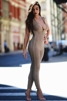 Deep V Lattice Detail Bandage Jumpsuit - Beige - Rumor Apparel