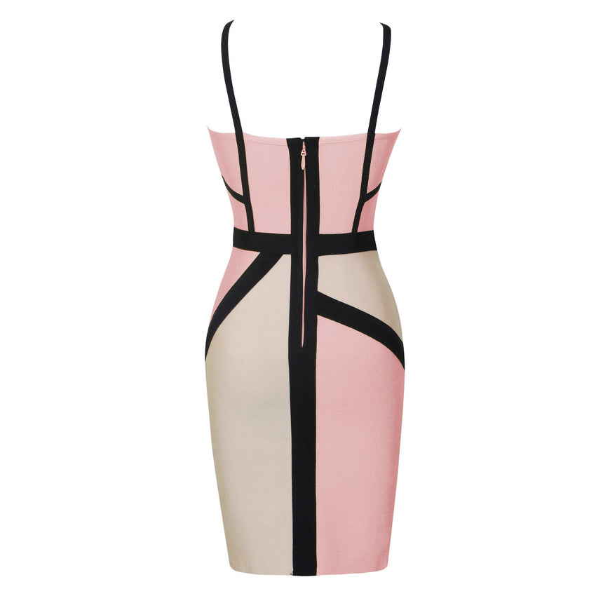 Cut Out Chest Color Block Dress - Pink - Rumor Apparel