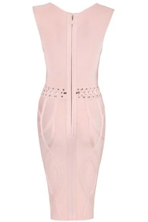 Sleeveless V Neck Cutout Waist Bandage Dress - Nude - Rumor Apparel