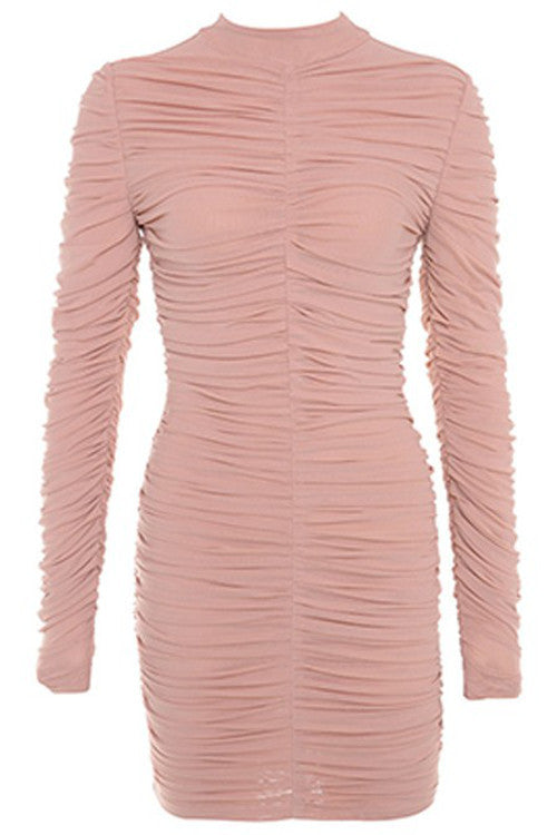 Ruched Mesh Bodycon Dress - Rumor Apparel