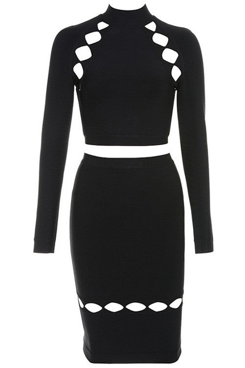Two Piece Long Sleeve Cutout Bandage Dress - Rumor Apparel