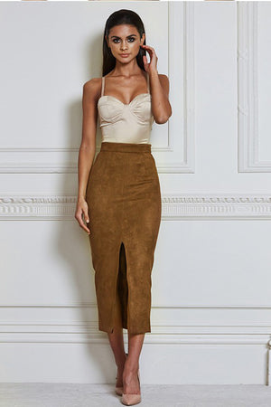 Front Slit Suede Skirt - Rumor Apparel