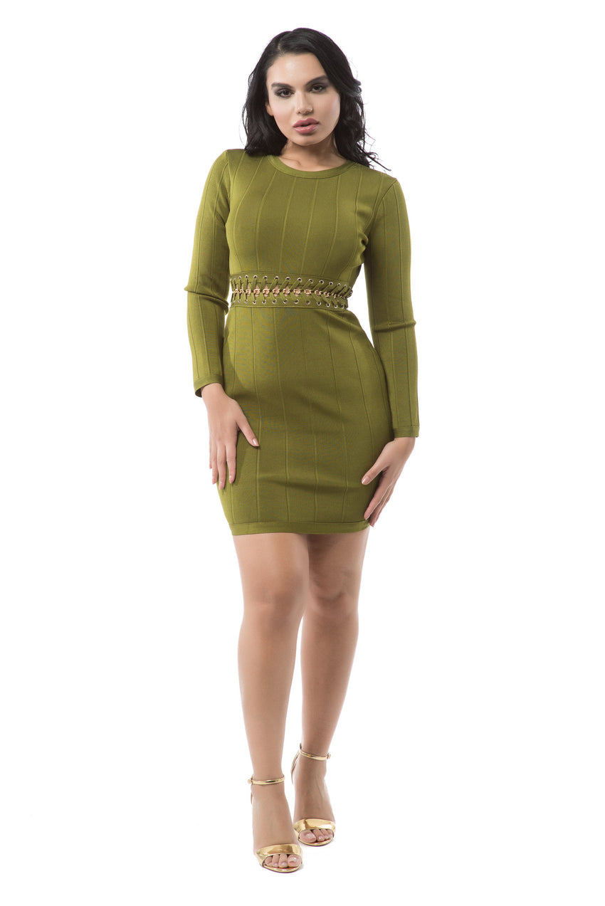Long Sleeve Gold Chain Detail Bandage Dress - Olive - Rumor Apparel