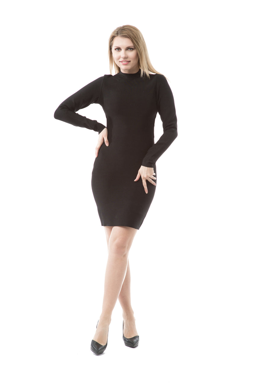 Long Sleeve Caged Back Bandage Dress - Rumor Apparel