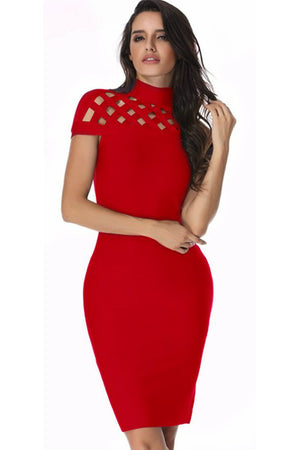 Cage Bandage Dress - Red - Rumor Apparel