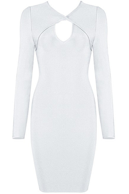 Long Sleeve Cutout Bandage Dress - White - Rumor Apparel