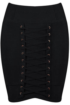 Lace Bandage Mini Skirt - Black - Rumor Apparel