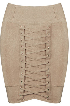 Lace Bandage Mini Skirt - Khaki - Rumor Apparel