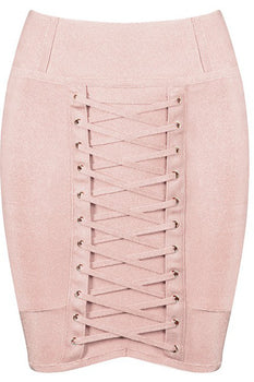 Lace Bandage Mini Skirt - Nude - Rumor Apparel