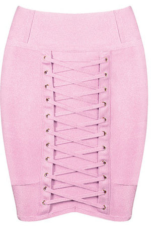Lace Bandage Mini Skirt - Pink - Rumor Apparel
