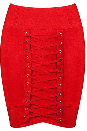 Lace Bandage Mini Skirt - Red - Rumor Apparel