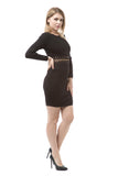 Long Sleeve Gold Chain Detail Bandage Dress - Black - Rumor Apparel