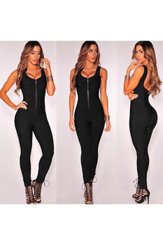 Sleeveless Zipper Bandage Jumpsuit - Rumor Apparel