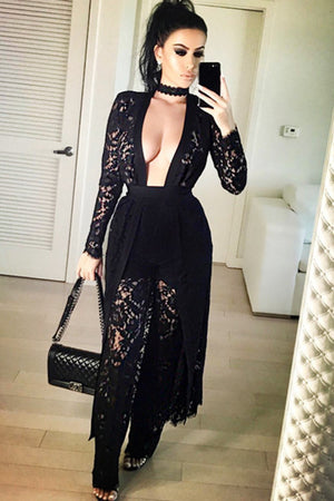 Sheer Lace Cape and Pants Three Piece Set - Rumor Apparel