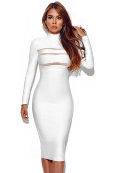 Mock Neck Long Sleeve Bandage Dress - Rumor Apparel