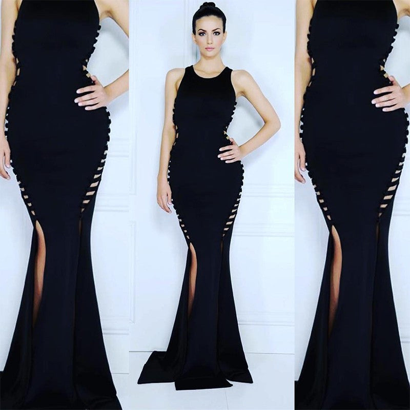 Side Cutout Long Bandage Dress - Black - Rumor Apparel
