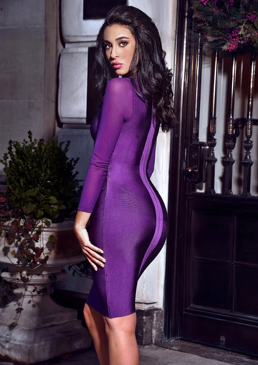 Mesh Long Sleeve Purple Cutout Bandage Dress - Rumor Apparel