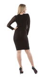 Mesh Long Sleeve Black Cutout Bandage Dress - Rumor Apparel