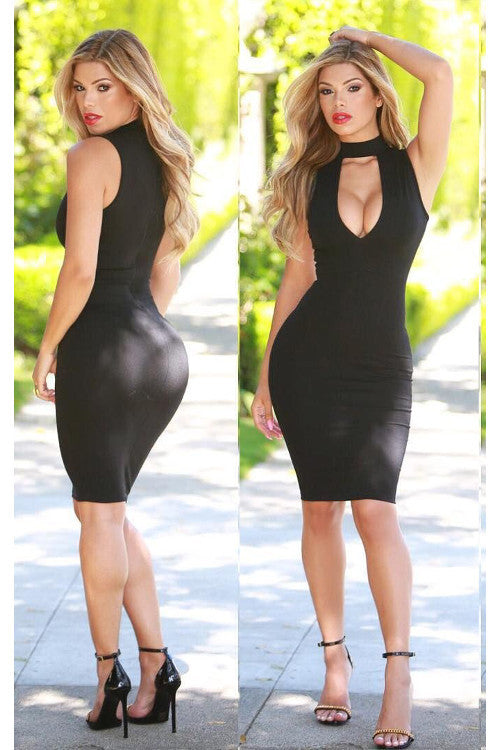 Deep V Neck Choker Mini Bandage Dress - Rumor Apparel