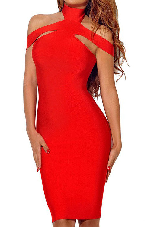 Triangle Cutout Bandage Dress - Red - Rumor Apparel