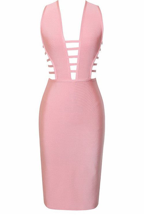 Cutout Detail Sleeveless Bandage Dress - Rumor Apparel