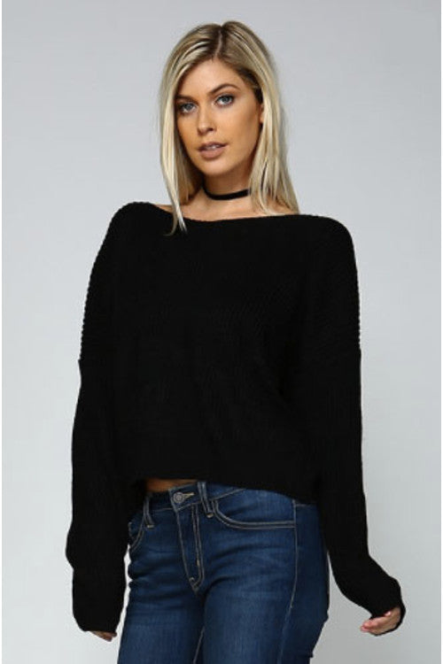 Round Neck V Back Sweater - Rumor Apparel