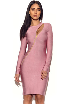 Asymmetric Zip Detail Long Sleeve Bandage Dress - Rumor Apparel