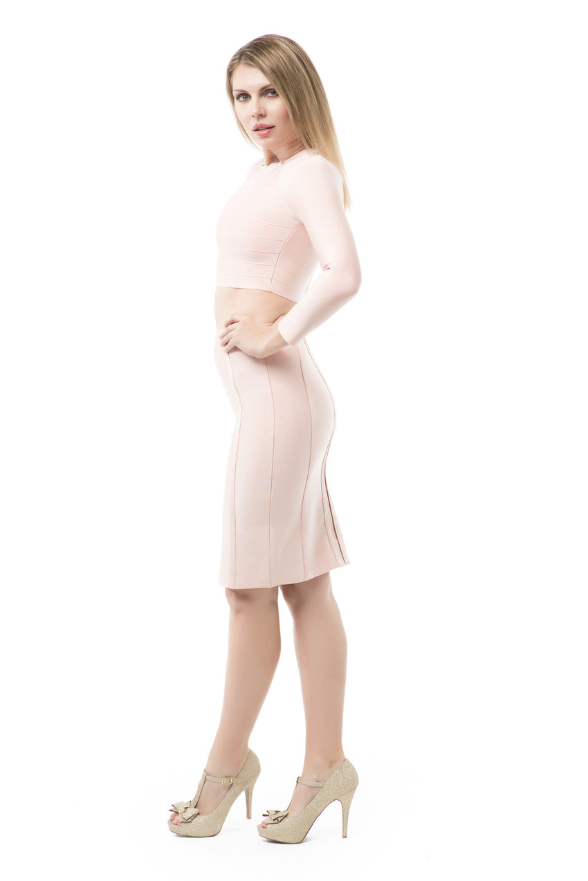 Two Piece Bandage Long Sleeve Crop Top and Midi Skirt - Blush - Rumor Apparel