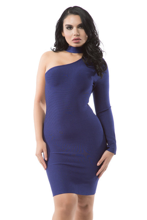 Choker One Sleeve Bandage Dress - Rumor Apparel