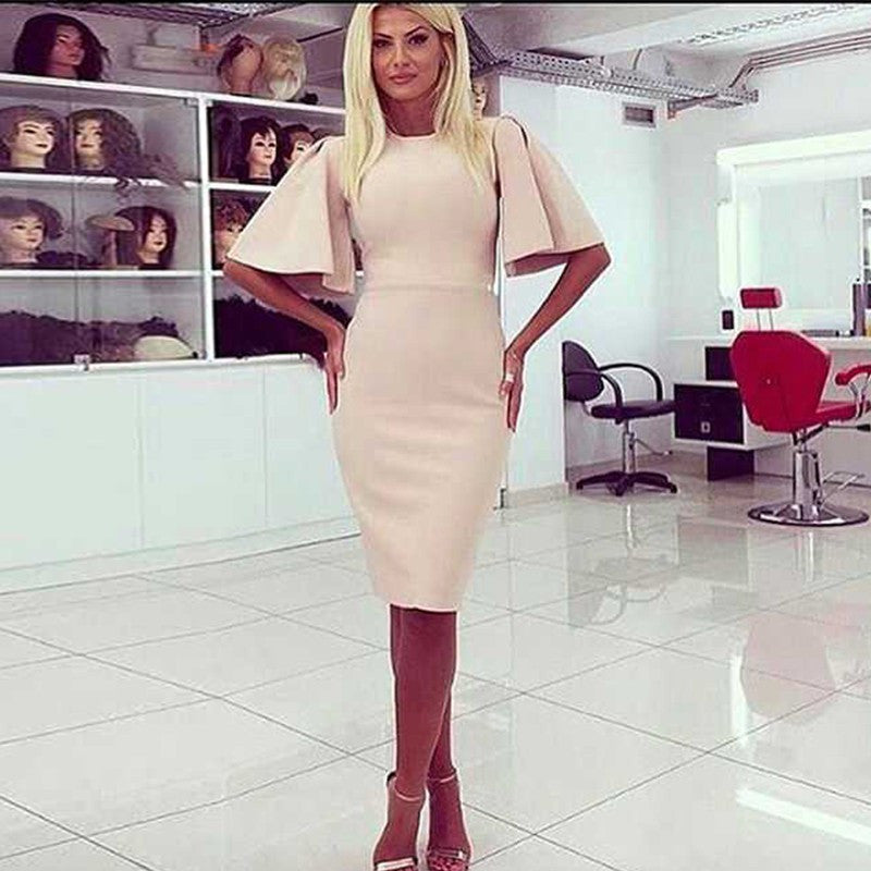 Round Neck Cutout Sleeves Bandage Dress - Rumor Apparel