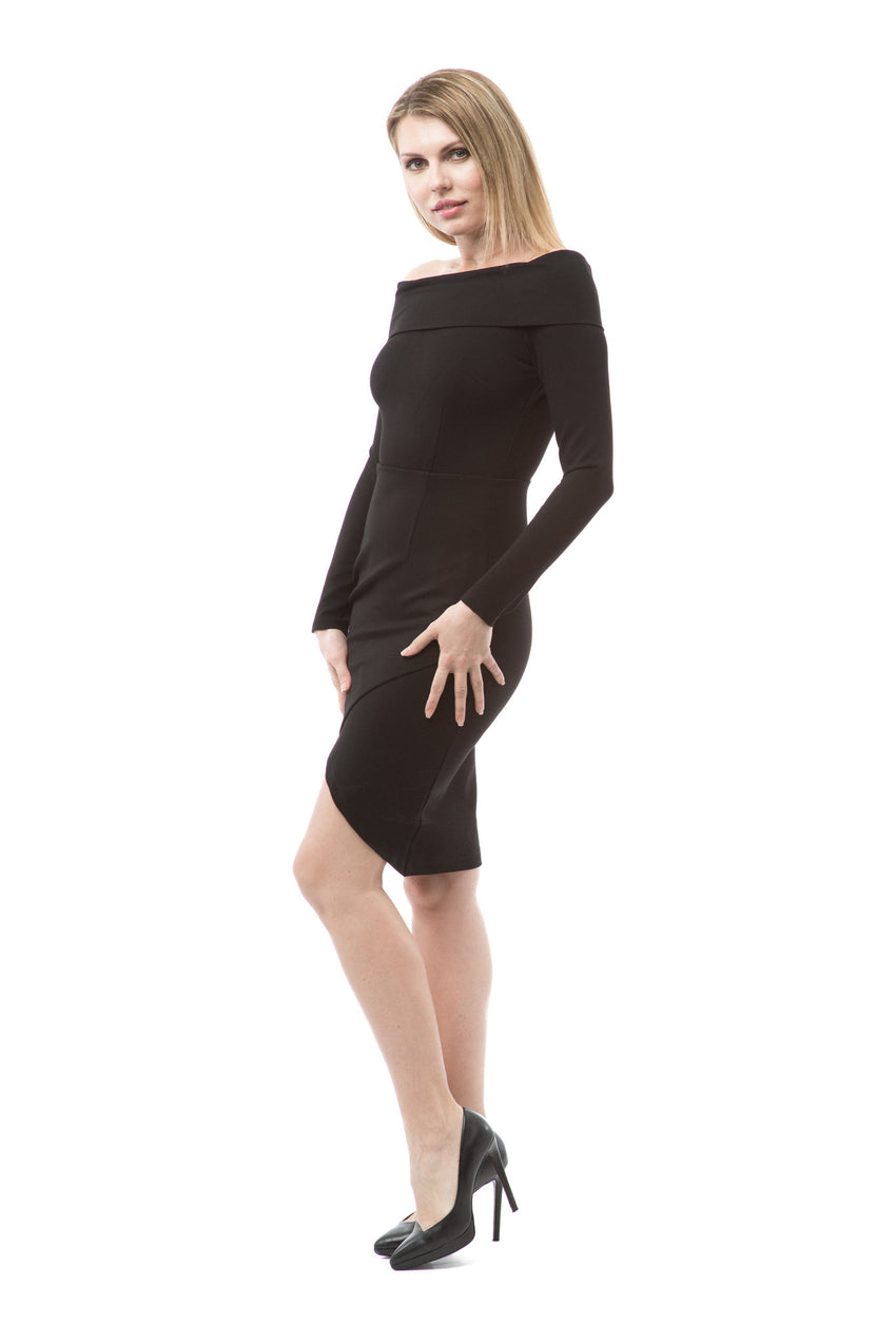 Off The Shoulder Long Sleeve Bodycon Dress - Rumor Apparel