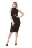 Mock Neck Sleeveless Bandage Dress - Rumor Apparel