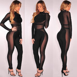 Sheer Long Sleeve Bandage Jumpsuit - Rumor Apparel