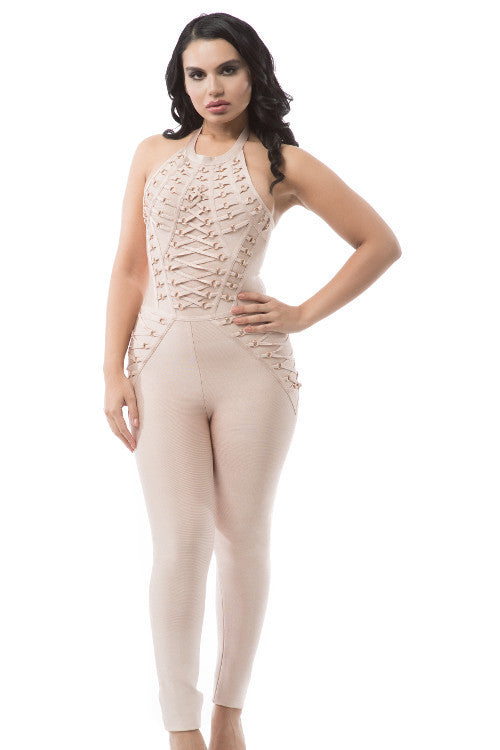 Halter Lace Up Sleeveless Bandage Jumpsuit - Rumor Apparel