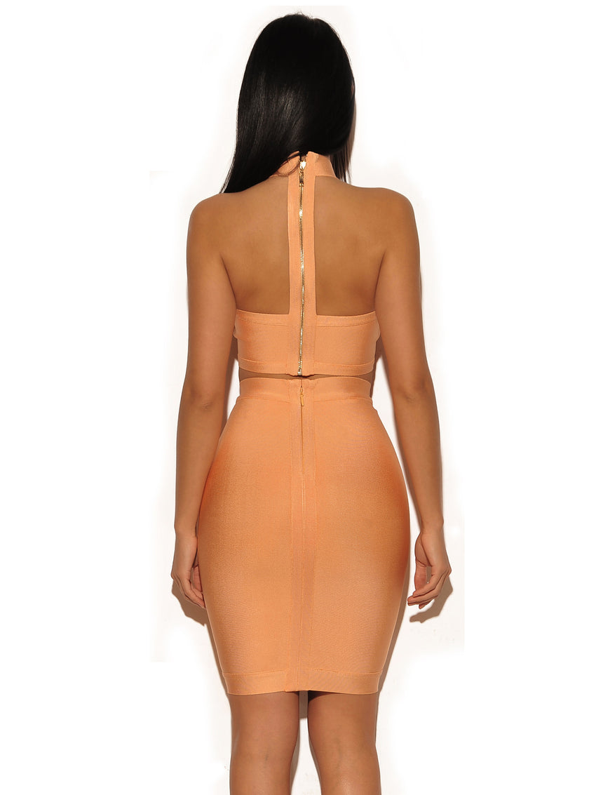 Lattice Weave Detail Two Piece Bandage Dress - Rumor Apparel