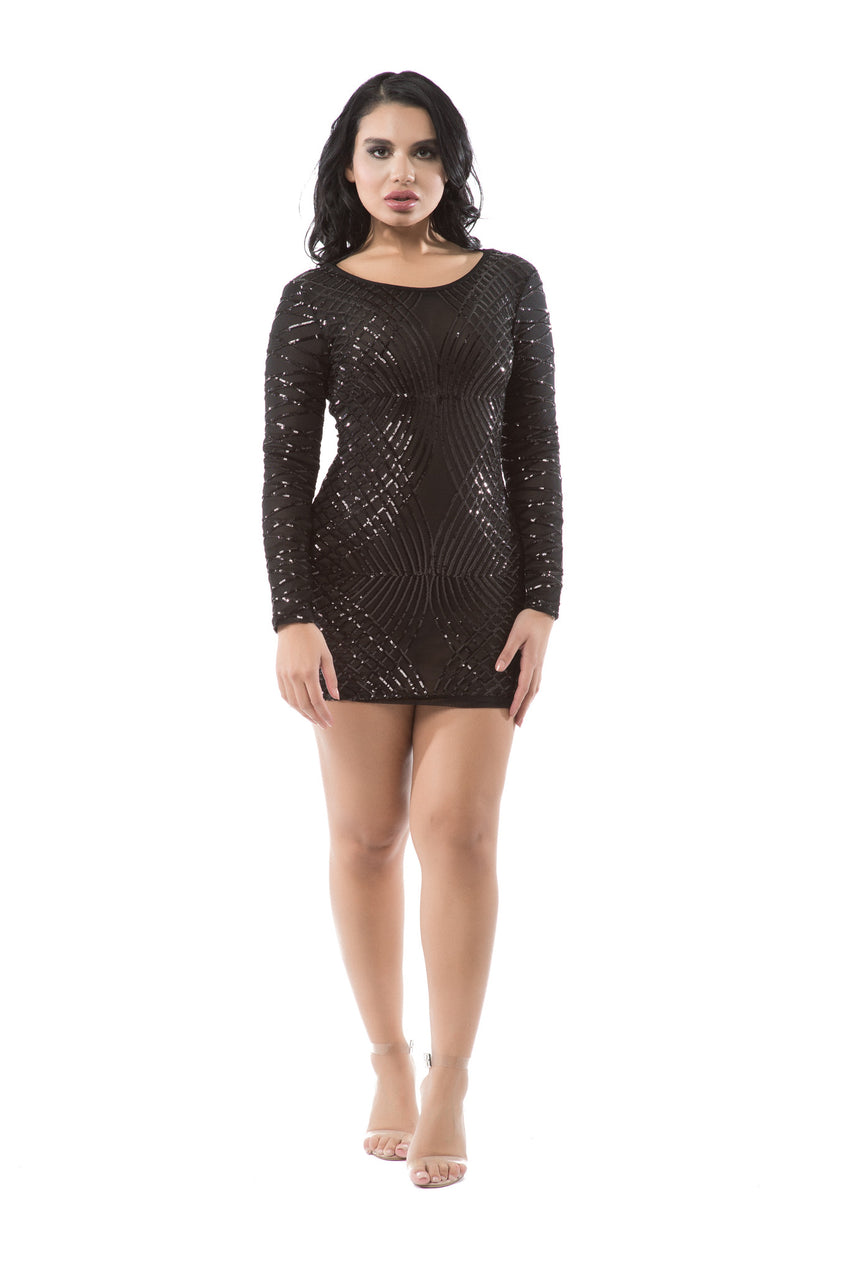 Sequin Detail Sheer Mesh Backless Dress - Rumor Apparel