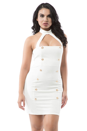 Mock Neck Halter Top Mini Dress - Rumor Apparel