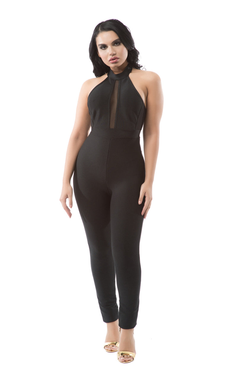 Sleeveless Mesh Halter Bandage Jumpsuit - Rumor Apparel