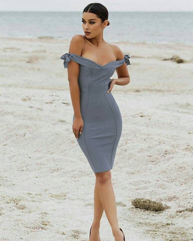 Off The Shoulder Grey Bandage Dress - Rumor Apparel