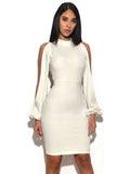 White Cut Out Sleeve Stretch Crepe Dress - Rumor Apparel