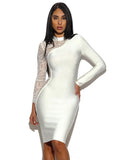 Asymmetric Sheer Lace Sleeve Bandage Dress - Rumor Apparel