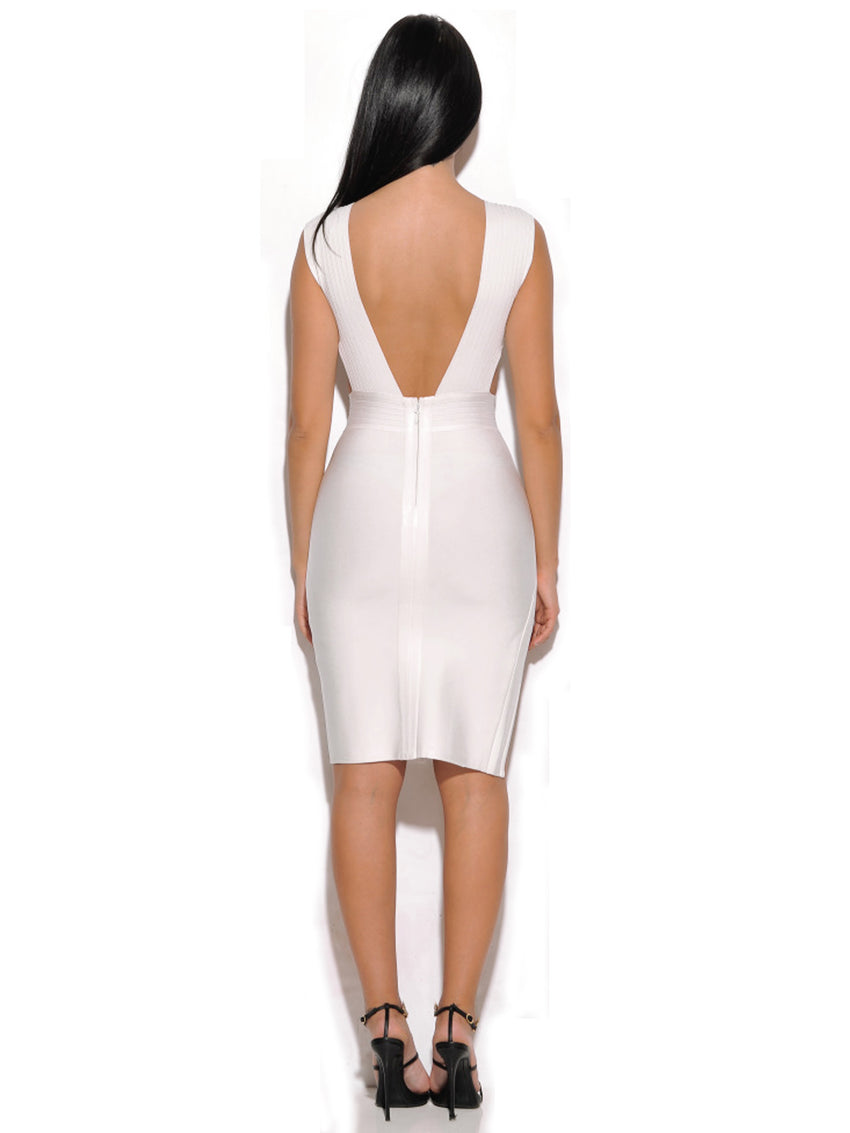 Cut Out Detail White Bandage Dress - Rumor Apparel