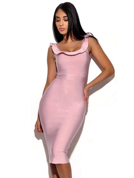 Ruffle Neckline Bandage Dress - Rumor Apparel