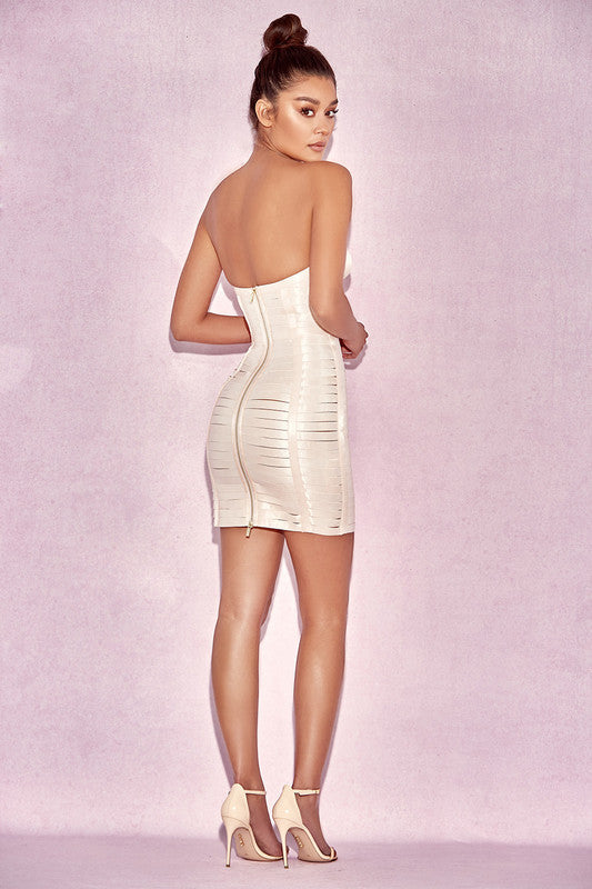Tube Top Weave Detail Bandage Dress