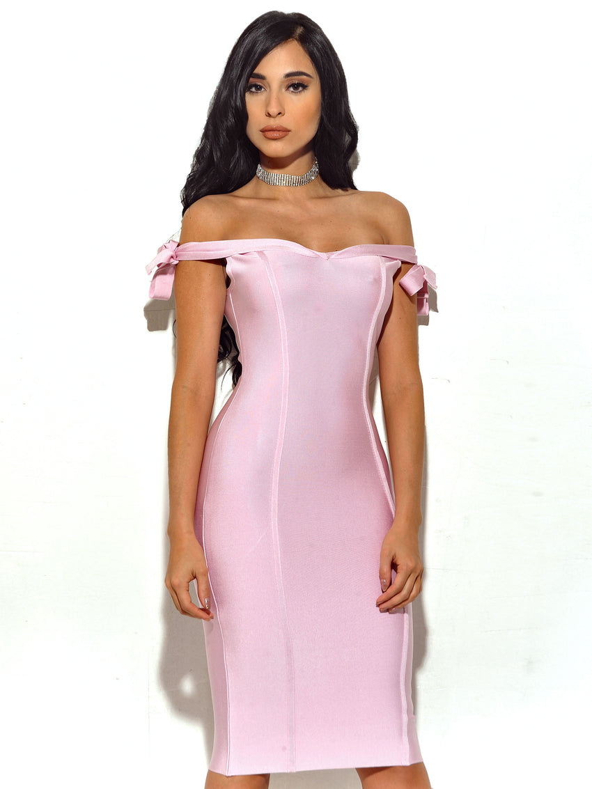 Off The Shoulder Bandage Dress - Rumor Apparel