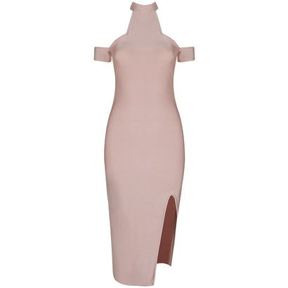 High Neck Cap Sleeve Bandage Dress - Rumor Apparel