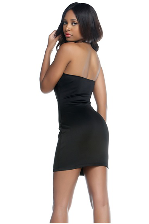 Sexy Black & White Strapless Cocktail Dress - Rumor Apparel