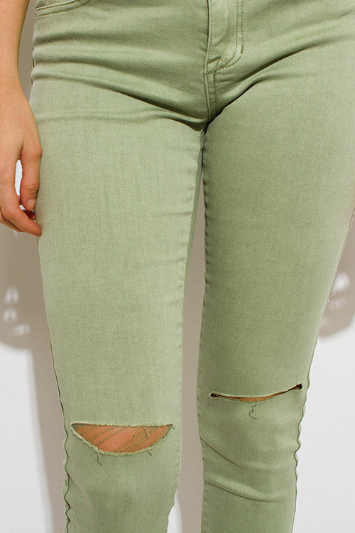 Light Green Ripped Cropped Skinny Jeans - Rumor Apparel
