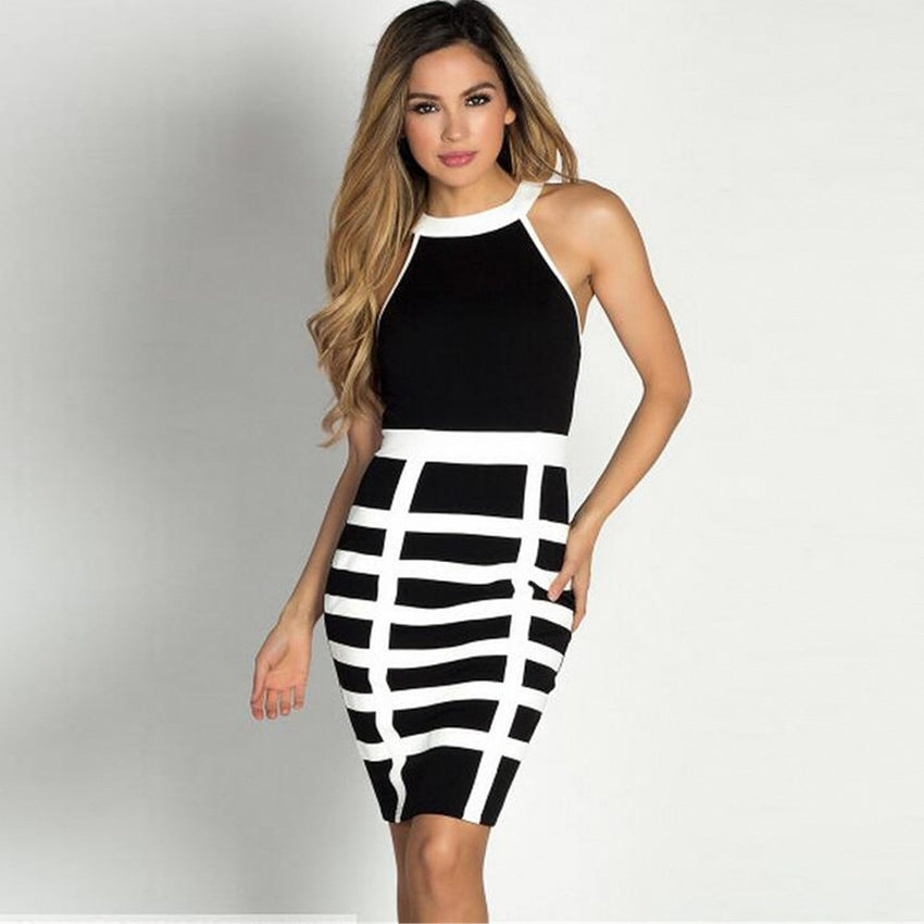Black & White Halter Bandage Dress - Rumor Apparel