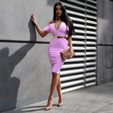 V Neck Cap Sleeves Midi Bandage Dress